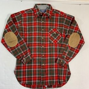 Pendleton Elbow Patch Wool Flannel Plaid Shirt M
